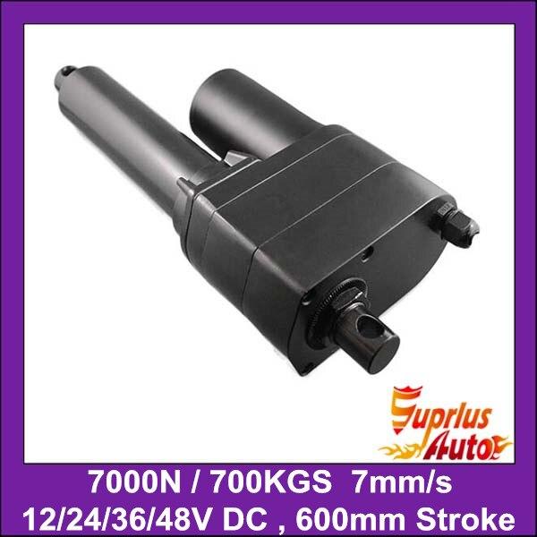7000N/ 700KGS/ 1540LBS Heavy Load 24inch=600mm Stroke 12V DC Heavy Duty 7mm/sec Speed Linear Actuator 12v dc 8inch 200mm stroke length heavy load 7000n 700kgs 1540lbs strong linear actuator