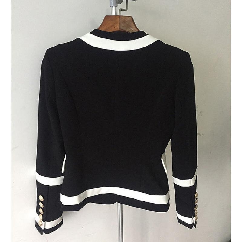 Contraste Noir Blazer cou Survêtement Mince 2018 Blazers Mode Couleur Blanc Femmes Jc2382 Patchwork Printemps Manteaux V Automne Femme x4Sw8qSIY