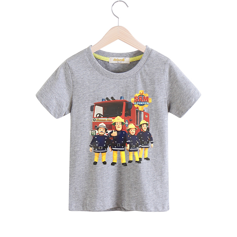 2018 New 3D Cartoon Fireman Sam Print Tee Tops For Boy Girl Summer Short Sleeve T-shirt Children Cotton Clothes Kid Tshirt TX041 peach print tee