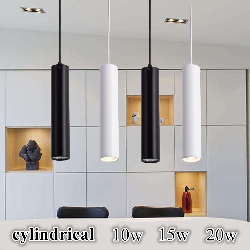 Dimmable Cylindrical  Led Pendant Light Aluminum&metal Home 10w 15w 20w Hang Lamp Dining/living Room Bar Cafe Droplight Fixture