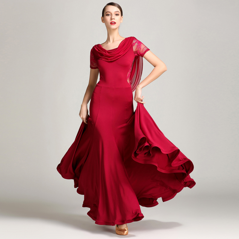 Ballroom Dance Competition Dresses Lady Lace Short Sleeve Flamenco Waltz Dance Clothes Women Standard Ballroom Dress
