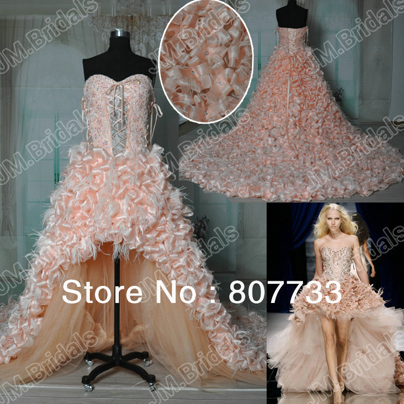 He073 Zuhair Murad Fabulous Short Front Long Back Beaded And Ruffled Pink Wedding Dress In Dresses From Weddings Events On Aliexpress