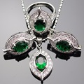 Lan Romântico Anel de 925 Conjuntos de Jóias de Prata AAA Zircon Rainbow Verde Anel Brinco Colar de Pingente Para O Casamento