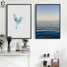Scandinavia Bird Seascape Wall Art Canvas Poster Print Original Nordic Decoration Painting Decorative Picture