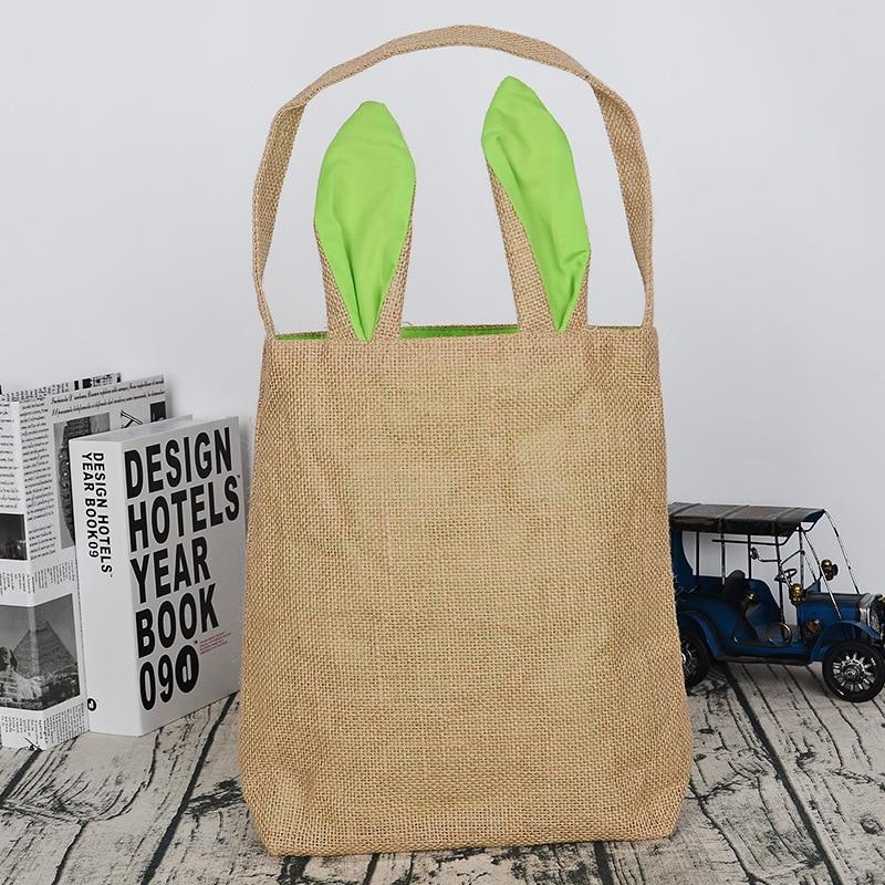 Wholesale 30pcs lot Easter Bunny Ears Basket Bag Jute Cloth Burlap Bags Easter Decorations For Home