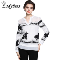 LADYBEES Women Chiffon Blouse Shirts Long Sleeve Horse Printed Patchwork Office Ladies Shirt Casual Top 2017