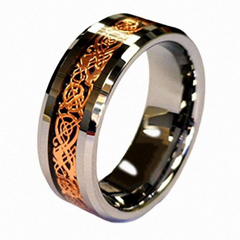 Vintage Rose Gold Celtic Dragon Tungsten Carbide Carbon Fiber Band Bridal Silver Ring Men Engagement Jewelry