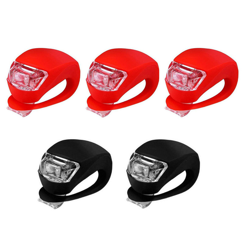LED Silicone Mountain Bike Bicycle Front Rear Lights Set Push Cycle Clip Light