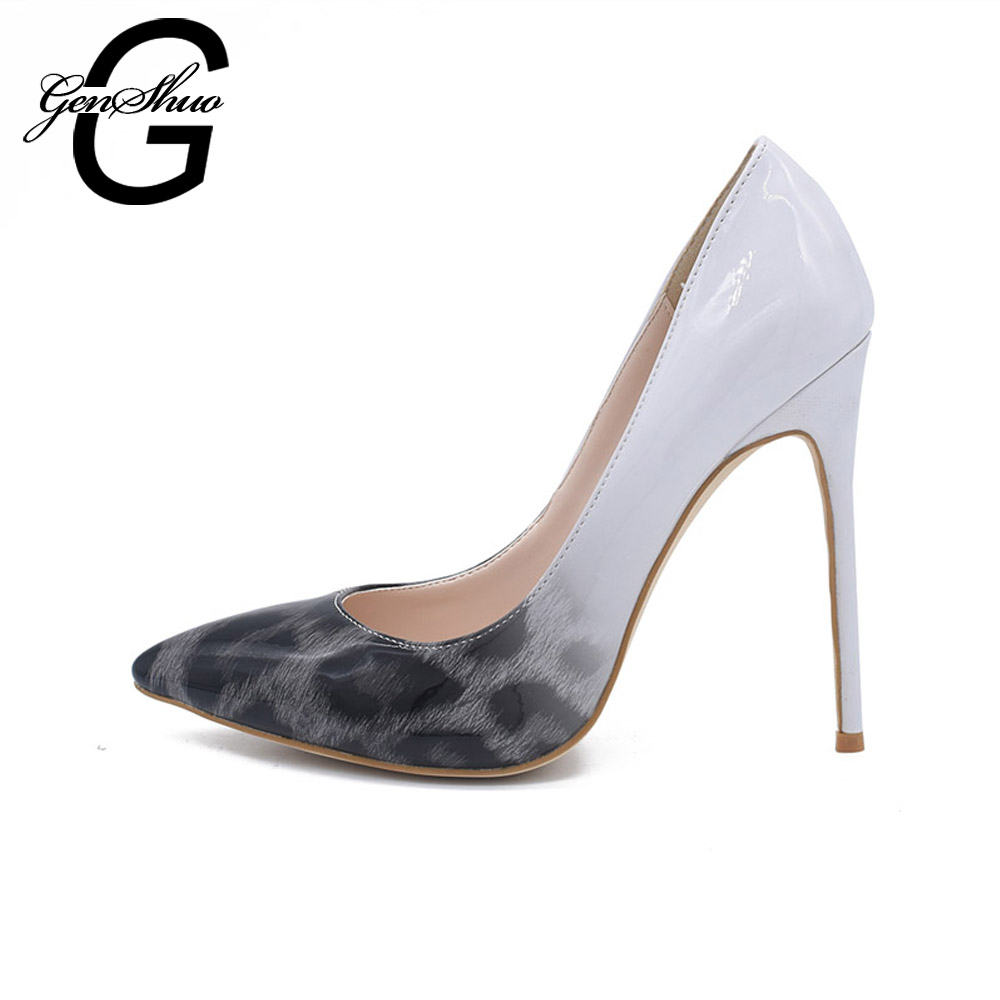 GENSHUO 10CM Pointed Toe High Heels Shoes 2017 Women Pumps Sexy Women Shoes For Party Dress Wedding Patent Leather Pumps Leopard facndinll new black patent genuine leather pointed toe rhinestone sexy high heels lace up women pumps ladies party casual shoes