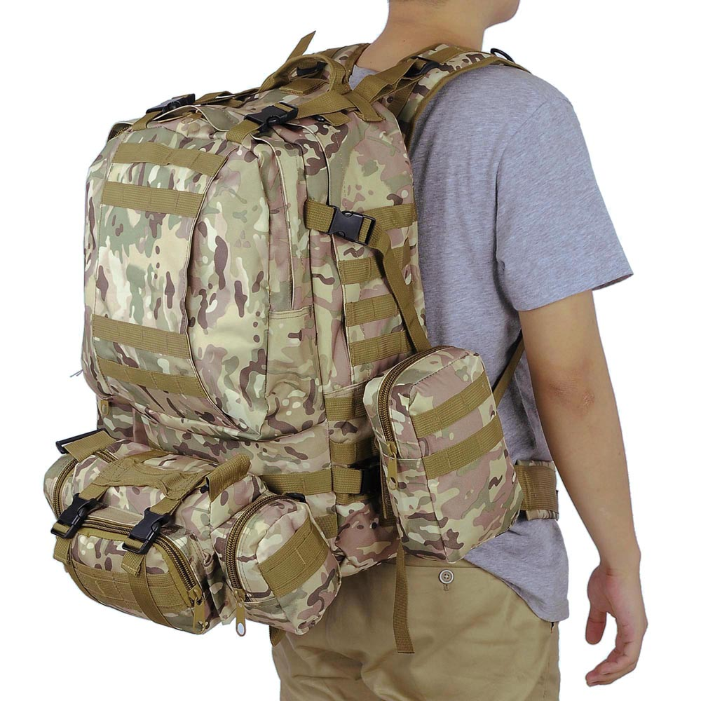2016 4pcs/lot 55L Molle 600D Oxford Travel Bag set Military Camouflage Backpack BL002 койнония 55 2016