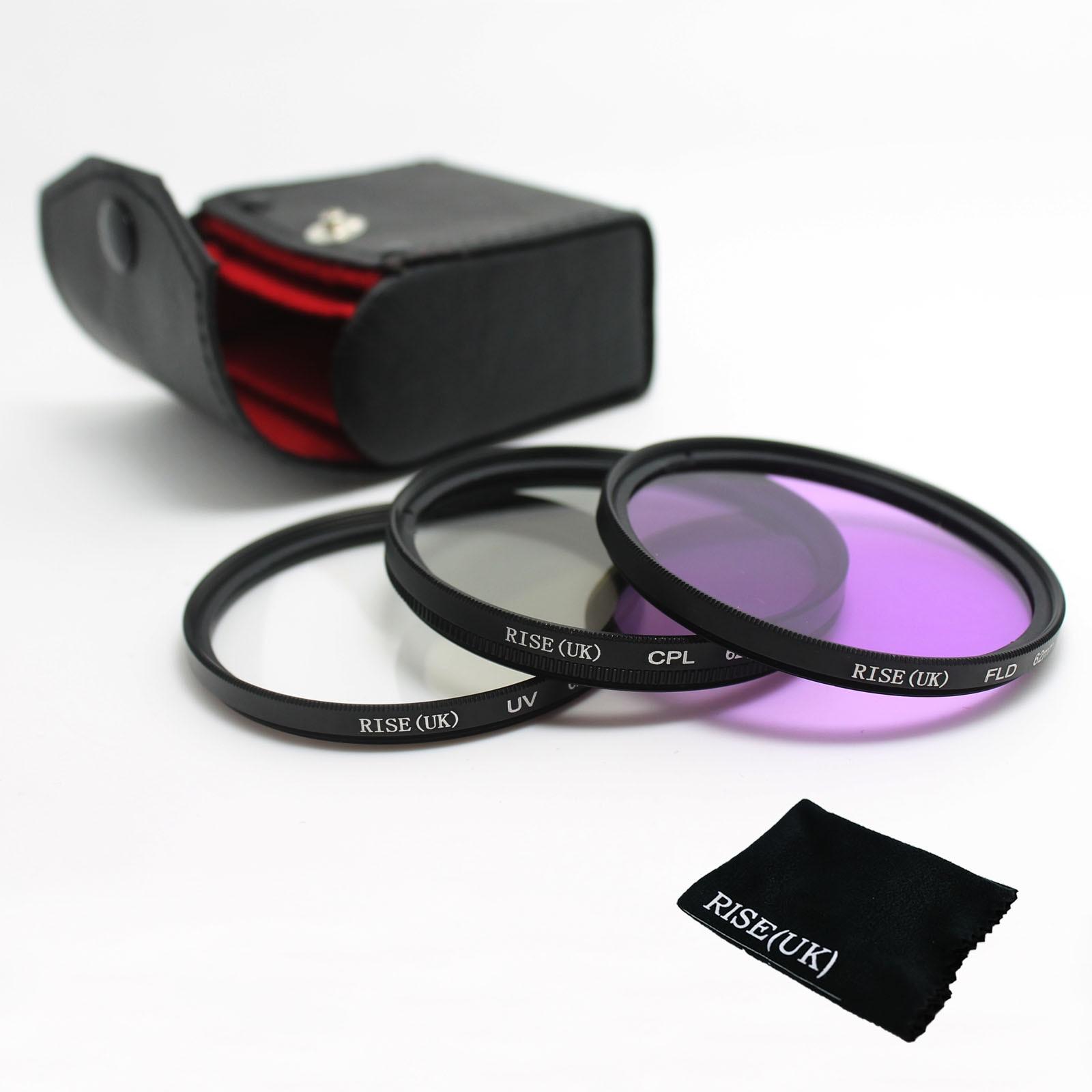 RISE (ROYAUME-UNI) 49mm 52mm 55mm 58mm 62mm 67mm 72mm 77mm UV + FLD + CPL Lens Filter Protecteur pour canon nikon pentax sony appareil photo reflex numérique