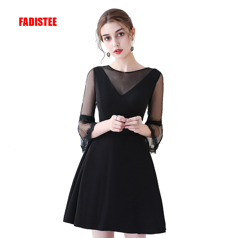 FADISTEE   Cocktail     Dresses   3/4 Sleeves Hot Selling Plus Size Short style   Dresses   Women little black lace   dress