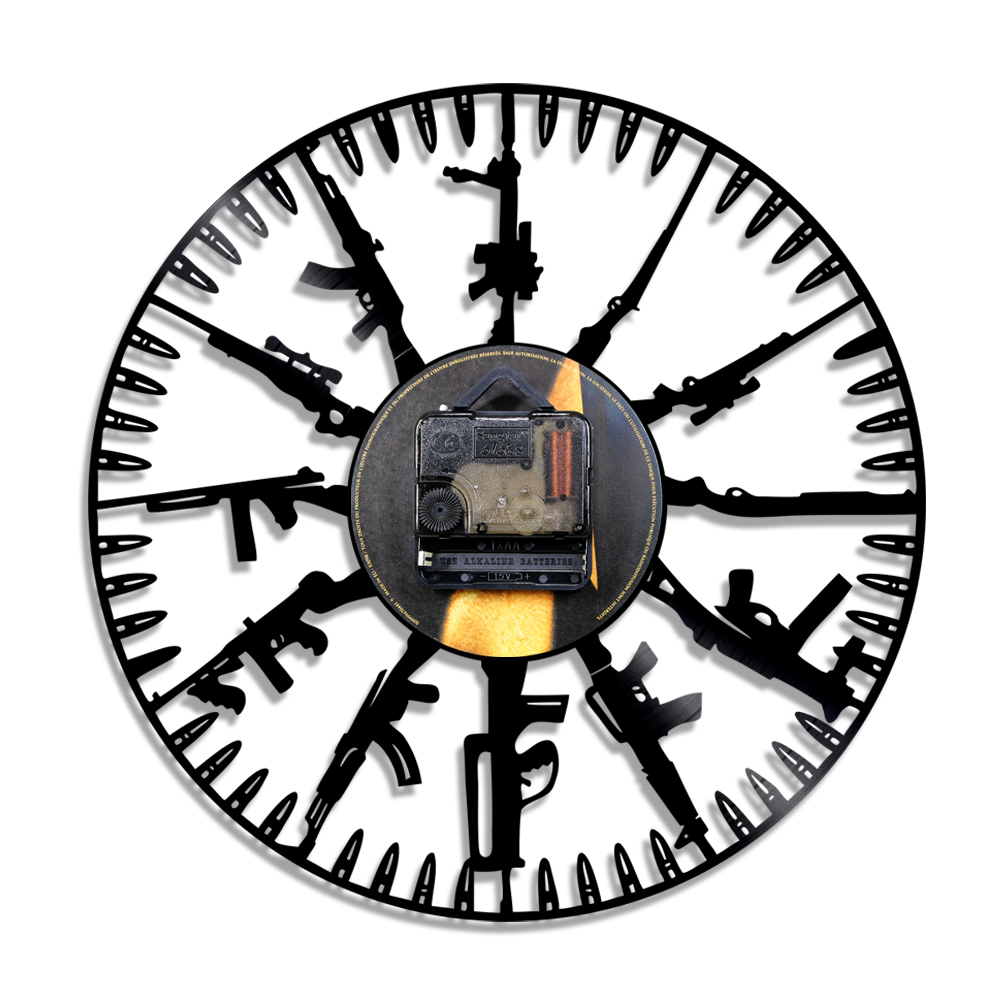 1piece bullet time wall clock gun breeds led light wall art wall 1piece bullet time wall clock gun breeds led light wall art wall light led backlight gift for army soldier and military fan in led indoor wall lamps from aloadofball Images