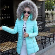 Новый 2016 зимой теплый толстый ватные куртки женщин мода искусственного меха воротник капюшоном тонкий Большой размер вниз пальто AE895
