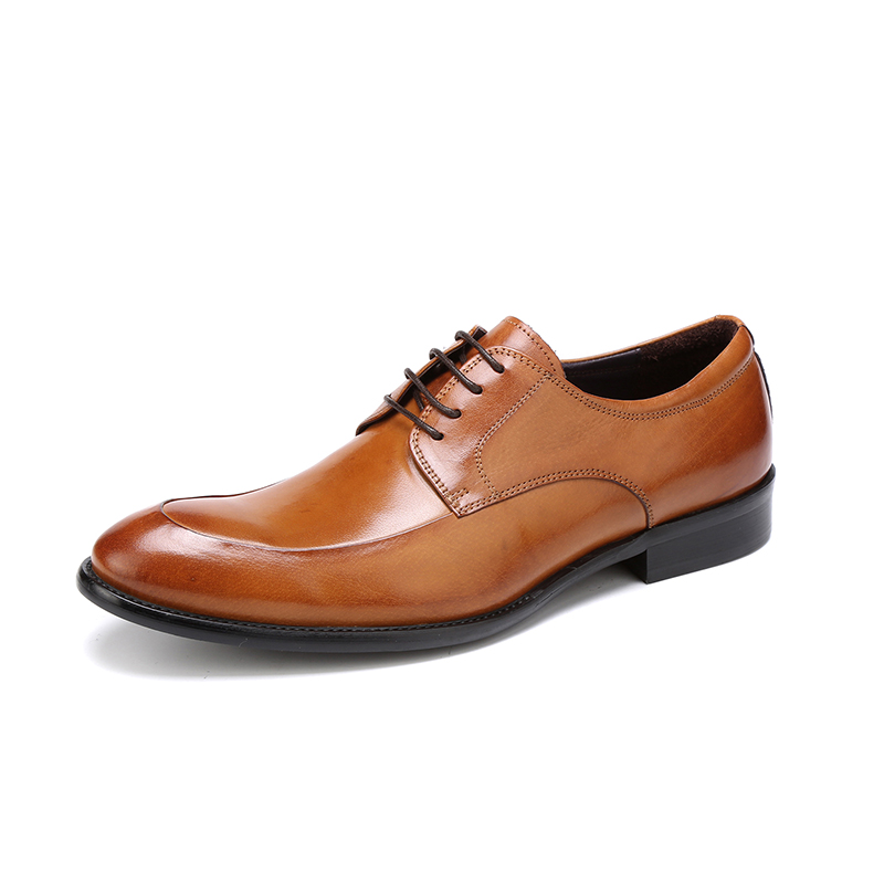 British Leather Shoes Mens Trend New Breathable Business Dress Brown Shoes Mens Round Head With Mens ShoesBritish Leather Shoes Mens Trend New Breathable Business Dress Brown Shoes Mens Round Head With Mens Shoes