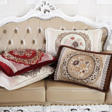 Plush Cushion Cover Europe Floral Embroidered Rectangle Pillow Case Decoration For Sofa Bed thick throw cushion covers 50*70