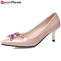 fashion sexy high quality pointed toe women pumps rhinestone patent leather shoes plus size 34-42 thin high heels bridal shoes