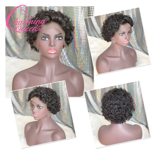 Image 5 - Brazilian Short Curly 13*4 Lace Front Human Hair Wigs for Black Women Pre Plucked Remy Lace Wigs with Baby Hair Charming Queen