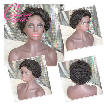 Brazilian Short Curly Lace Front Human Hair Wigs for Black Women Pre Plucked Remy Lace Wigs with Baby Hair Charming Queen