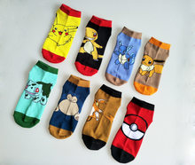 % Fashion Art Unisex Women men and kdis Cotton Socks pokemon Pattern Hip Hop Harajuku Calcetines Cotton Socks Low Ankle Socks(China)