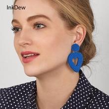 INKDEW Love Heart Earrings Ethnic Bohemia Spring Drop Earrings for Women Beads Handmade Long Big Earrings Fashion Jewelry boho недорого
