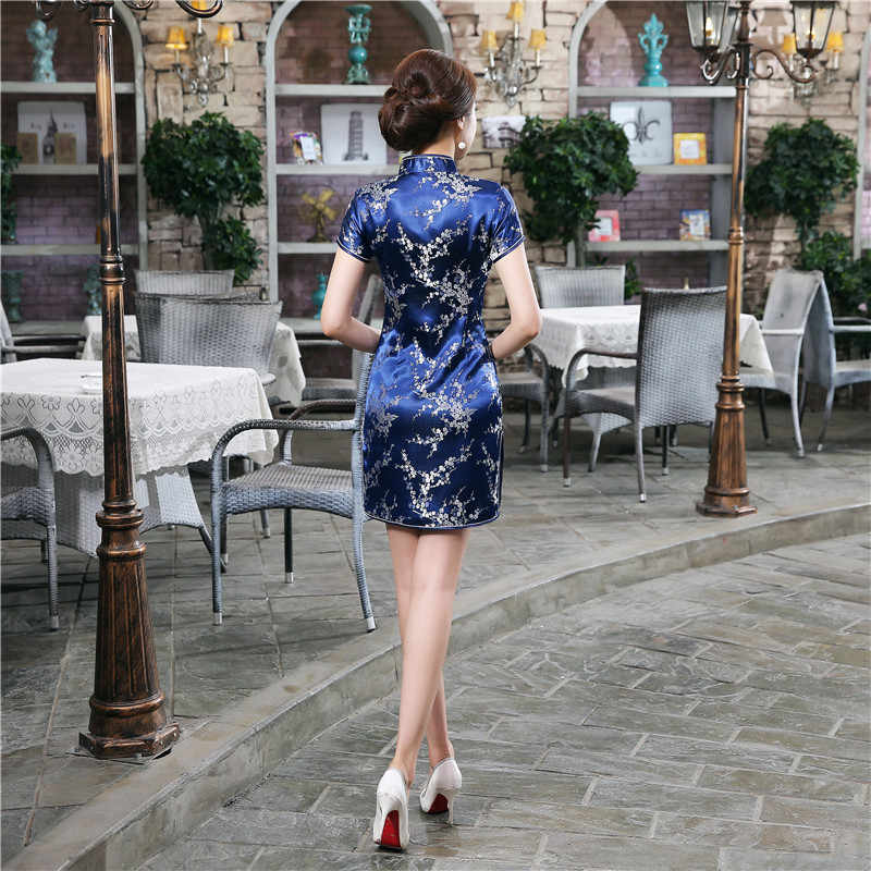 Темно-Синие атласные летние женские платья Ципао в традиционном китайском стиле, женское платье Ципао с воротником-стойкой, размеры S-XXL