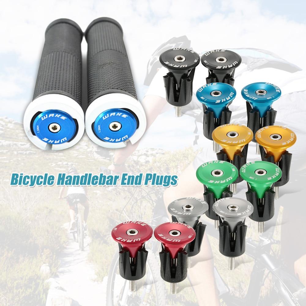 1 Pair Aluminum Bike Handlebar Grips Cap Plug Handle Bar Caps End Plugs Stoppers