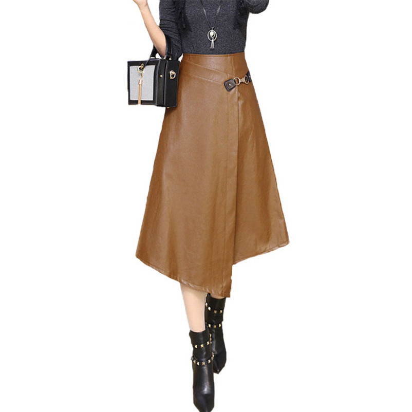Quality Autumn Sexy High Waist Women Party Casual Faux Leather Solid Color A-Line Skirts Stitching Asymmetrical Mid-Calf Skirts