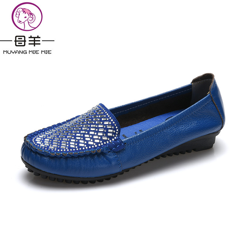 MUYANG MIE MIE 2016 New Fashion Women Flats Rhinestone Genuine Leather Flat Shoes Woman Casual Shoes Soft Round Toe Women Shoes
