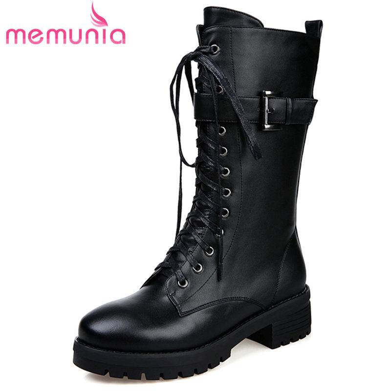 MEMUNIA NEW 2018 fashion round toe square med heels mid calf boots women genuine leather zip spring autumn boots ladies shoes memunia spring autumn fashion lace up ladies shoes med heels square toe high quality patent leather black casual shoes