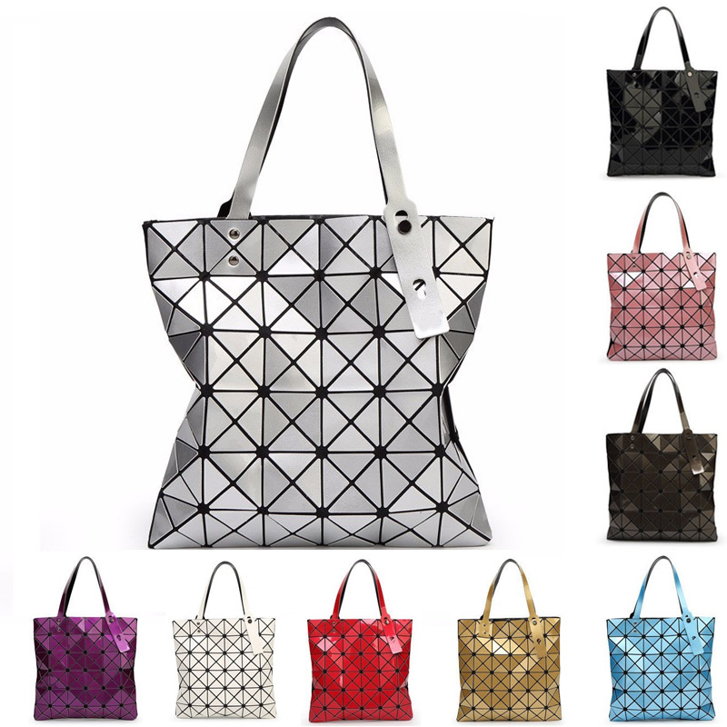 2017 New Women Handbag BaoBao Bag Female Folded Geometric Plaid Bag BAO BAO Fashion Tote Women