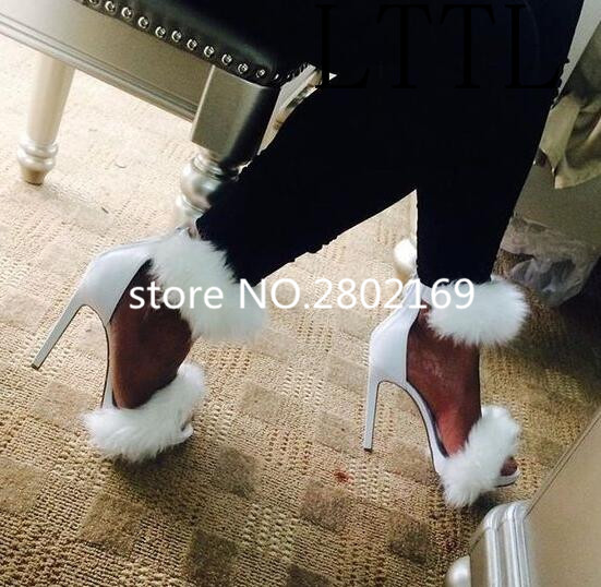 New Arrival Gladiator White Black Pink Fur Sandals Cover Heeled Thin High Heels Solid Summer Women Fashion Sexy Party Sandals