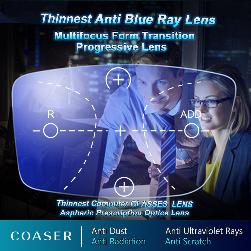 Anti blue light Free Form Multifocal Progressive Lens Glasses Prescription Optical Spectacle Reading Progressiva 1 56