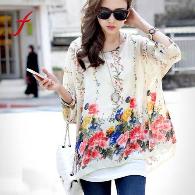4630a35bb7d US $4.23 35% OFF|2019Blusas Summer Tops Women Clothing 2019 New Style  Batwing Sleeve Chiffon Shirt Bohemian Floral Print Oversized Blouse-in  Blouses & ...