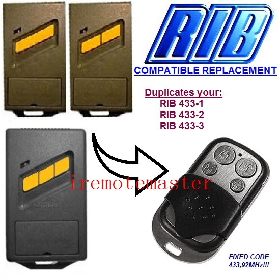 RIB 433-1, 433-2, 433-3 compatible remote control replacement 433,92MHZ FIXED CODE proteco ptx433305 compatible replacement remote control 433mhz fixed code