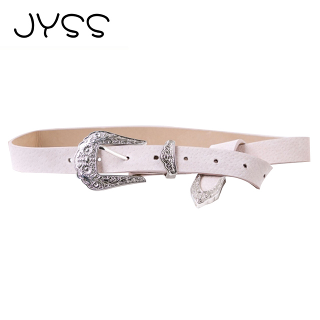 JYSS New arrival Fashion PU solid color belts for women Flower belt fastener High quality Faux leather belt Length 104cm 60055