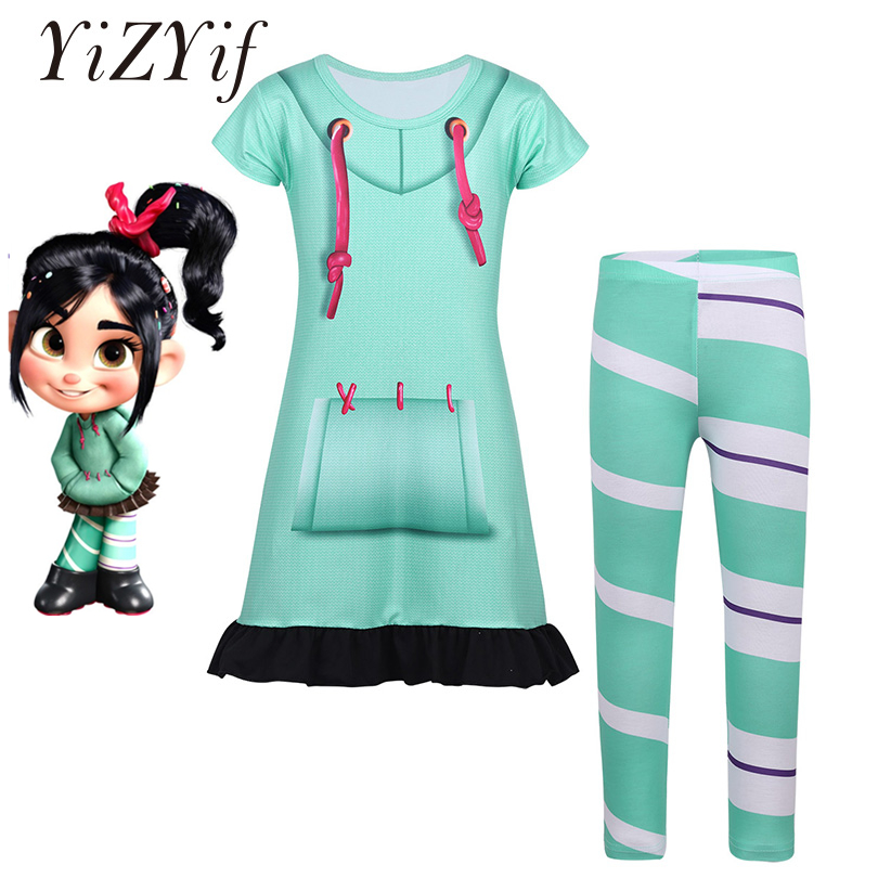 YiZYiF Kids Girls Cosplay Costume Halloween Short Sleeves Digital Printed Top Dress with Striped Leggings photography Costume