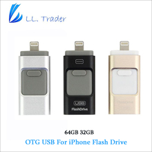 COMERCIANTE LL 64 GB Mini USB Flash Drive de iOS Para iPhone iPad iPod Android Almacenamiento Pendrive Disco de Memoria Flash Drive OTG REINO UNIDO/EE.UU./AU/es/RU