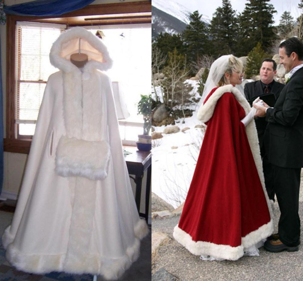 Cheap Bridal Cape Ivory Stunning Wedding Cloaks Hooded with Faux Fur Trim Ankle Length Red White