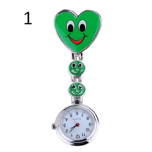 Brooch Pocket Watch Smiley Nurse Watch Women's Cute Smiling Faces Heart Clip-On Pendant Nurse Fob Brooch Pocket Watch Heart Pend