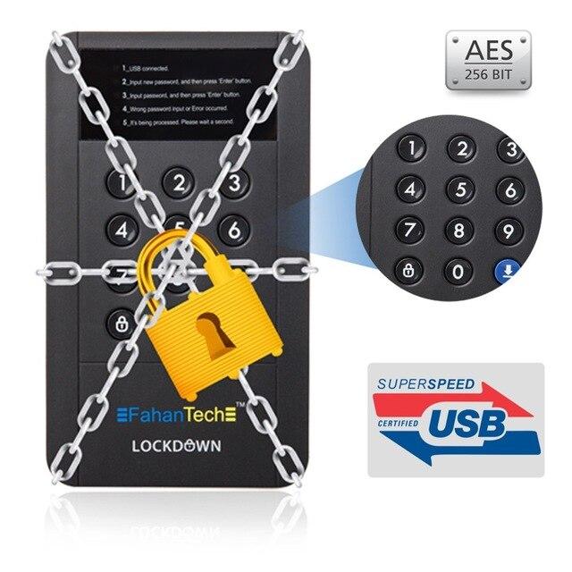 FahanTech 2.5inch USB3.0 Encrypted Hard Drive Enclosure with Military Grade Encryption.  Security Hard Drive Enclosure USB3.0