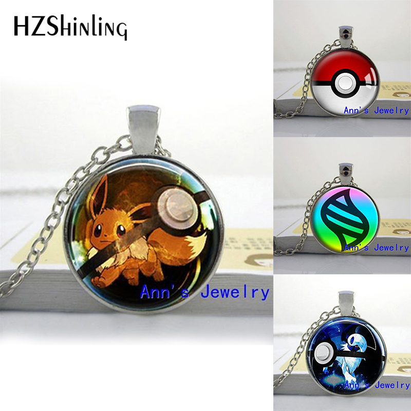HZShinling 2018 Hot Glass Dome Jewelry Eevee Pokeball Round Necklace Pokemon Pikachu Pendant Personalized Picture Necklace HZ1
