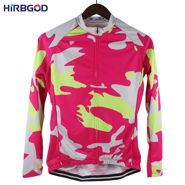 77ebf7501 HIRBGOD Stylish of Womens Red Green Camouflage Cycling Jersey Moisture  Wicking Lightweight Long Sleeve Bicycle Shirt