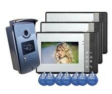 Freeship de dhl Video de La Puerta Teléfono Intercom Kit 1camera 3 monitores de Acceso RFID RFID Acceso videoportero de Intercomunicación casa timbre de la puerta