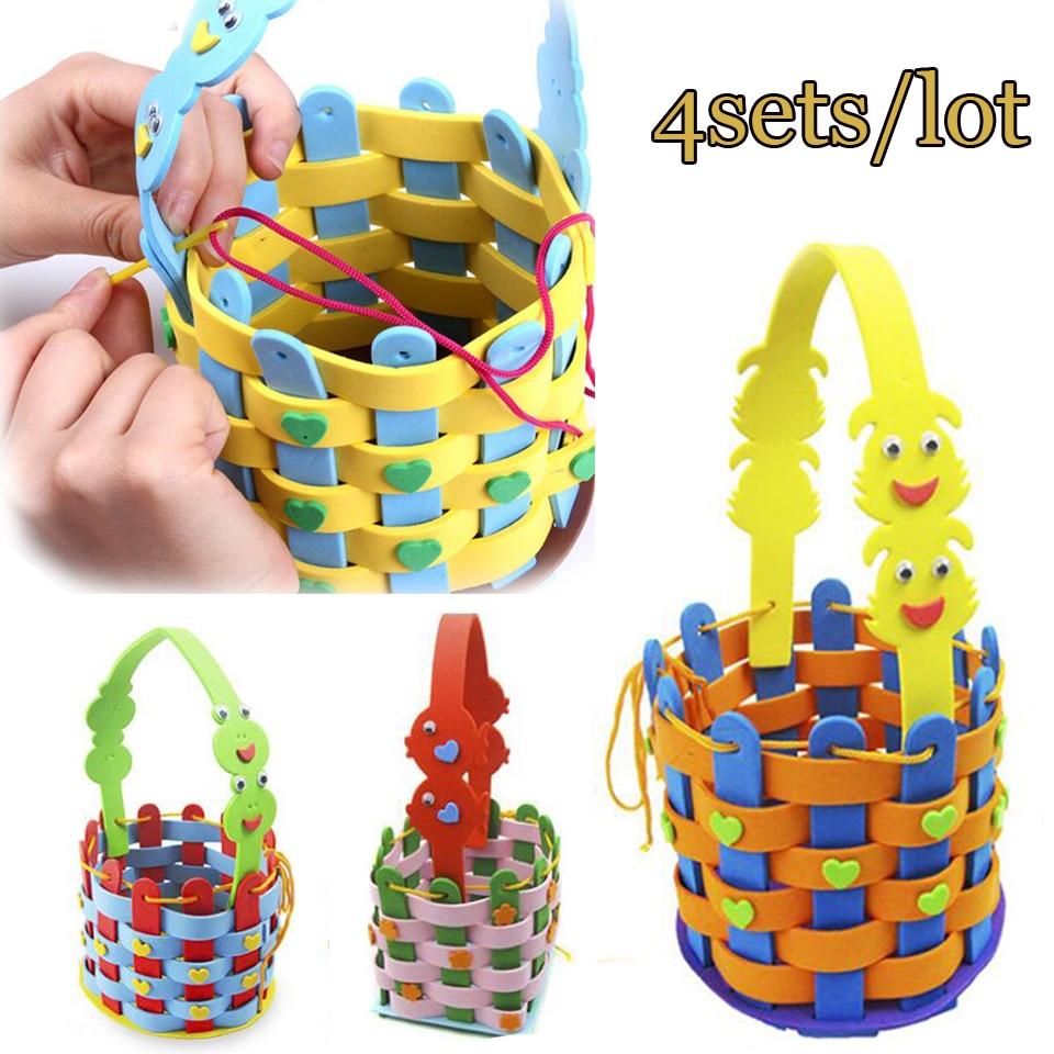 4sets/lot DIY Applique Basket Children Handmade Non-woven Soft EVA Cartoon Animal Flower Basket Craft Art Craft Gift DOLLRYGA