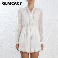Women Boho Casual Beach Party One Piece Romper Elegant Polka Dot Lace See Through Long Sleeve White Playsuit Sexy Short Jumpsuit