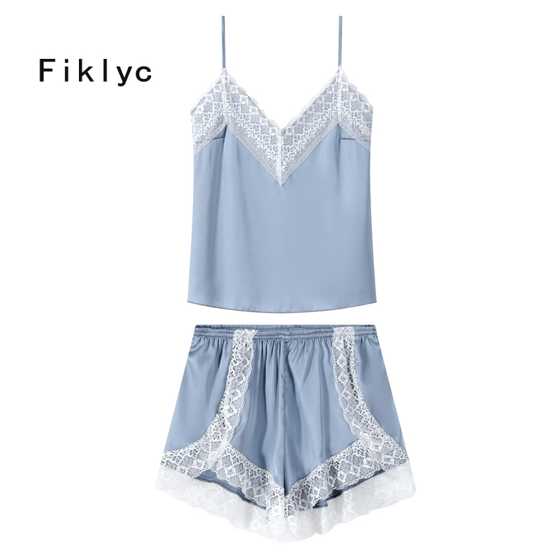 Fiklyc brand women's summer sleeveless tops + short pants   pajamas     sets   satin & lace patchwork V-neck pijamas sexy nightwear   set