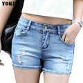Джинсовые шорты джинсы женщин pantalones cortos mujer pantaloncini донна тощий низкой талией отверстие случайные брюки девочек