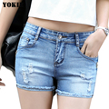 denim shorts jeans women  pantalones cortos mujer pantaloncini donna skinny low waist hole casual female trousers girls