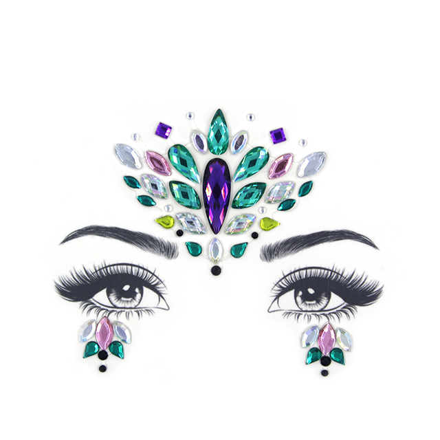 Glitter Face Jewelry Sticker Temporary Tattoo Party Face Makeup Tools rhinestones Flash tattoo stickers 5